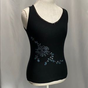 Cache Navy Tank with embellishments